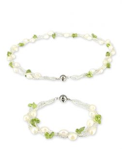 PACIFIC PEARLS TREASURE ISLAND COLLECTION Peridot and Pearl Versatile Necklace and Bracelet Set