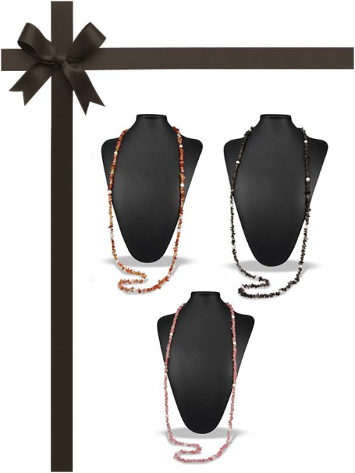 TREASURE ISLAND COLLECTION Pink Tourmaline, Orange Onyx, Smoky Quartz and Pearl Necklace Gift Set