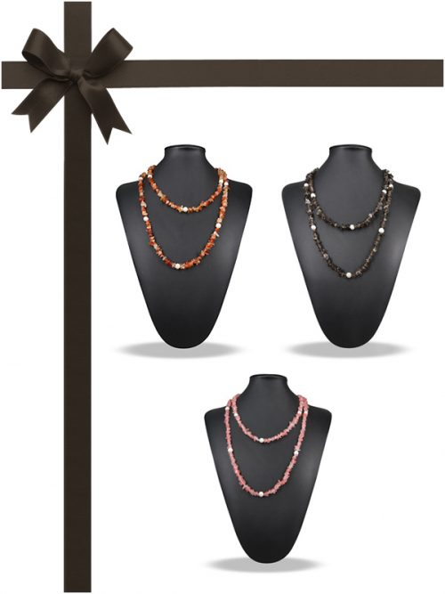 TREASURE ISLAND COLLECTION Pink Tourmaline, Smoky Quartz, Orange Onyx, and Pearl Necklace Gift Set