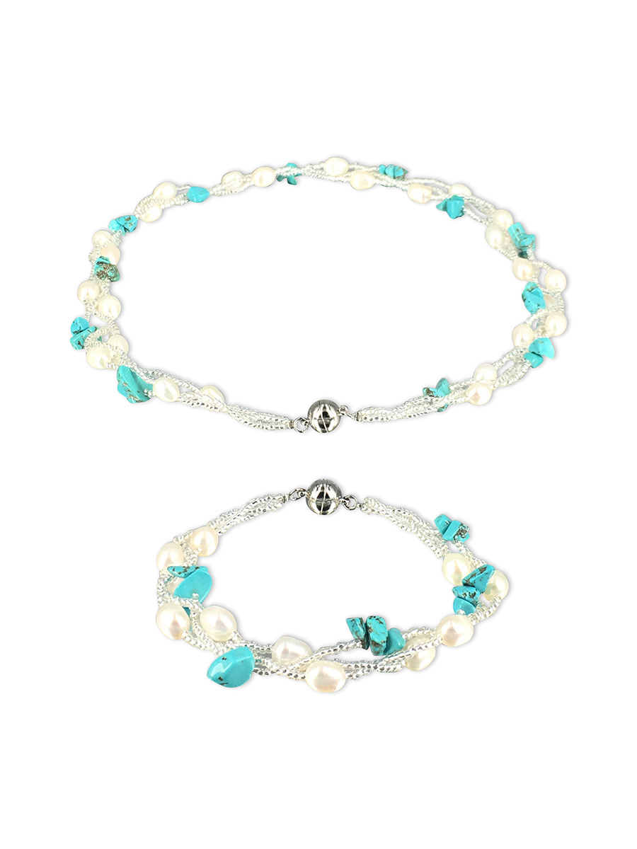 PACIFIC PEARLS TREASURE ISLAND COLLECTION Turquoise and Pearl Versatile Necklace and Bracelet Set
