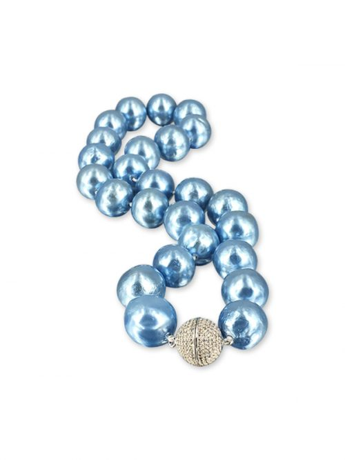 PACIFIC PEARLS VANUATU COLLECTION Metallic Blue 12-15mm Pearl Necklace
