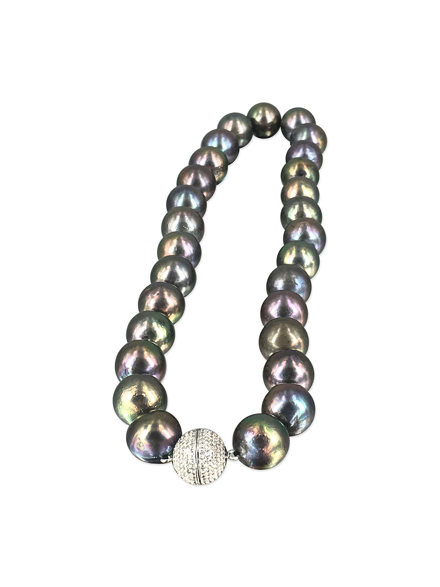 PACIFIC PEARLS VANUATU COLLECTION Peacock 12-15mm Pearl Necklace