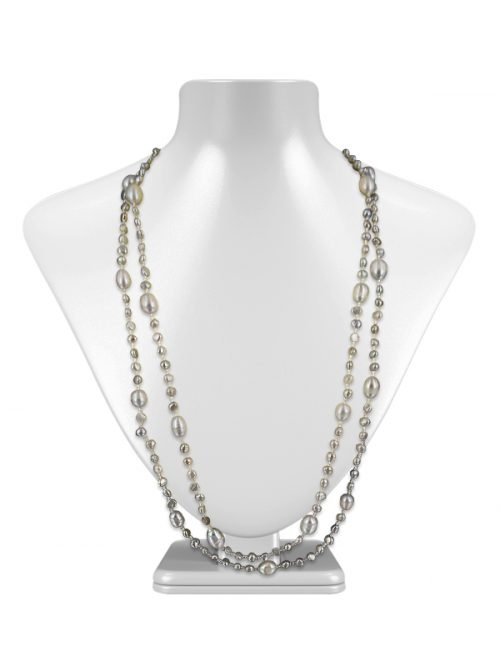 VERSATILE SULU SEA COLLECTION DOUBLE STRAND SILVER-GRAY PEARL NECKLACE