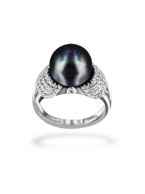 PACIFIC PEARLS BORA BORA COLLECTION Black Beauty Diamond Encrusted Pearl Ring