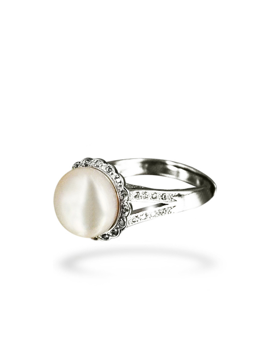 Bora Bora Collection Coronet Diamond Encrusted White Pearl