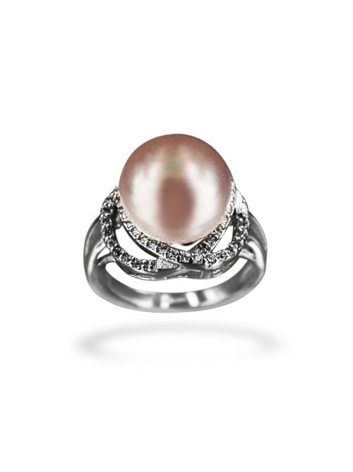 PACIFIC PEARLS BORA BORA COLLECTION Hearts on Fire Diamond Encrusted Lavender Pearl Ring