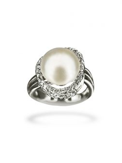 PACIFIC PEARLS BORA BORA COLLECTION Laurel Wreath Diamond Encrusted White Pearl Ring
