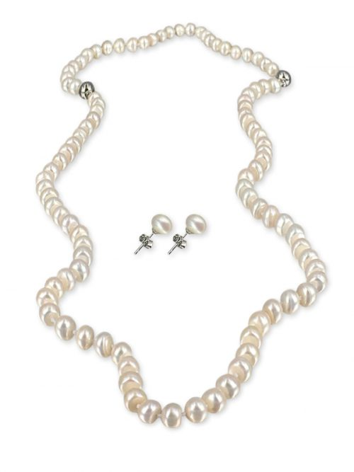 IVORY PALLISER LAGOON COLLECTION 7-8MM VERSATILE PEARL NECKLACE, BRACELET AND EARRING SET