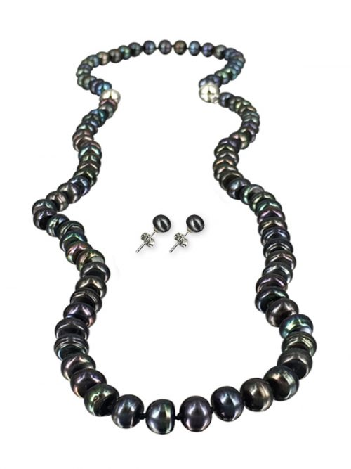 MIDNIGHT 7-8MM PALLISER LAGOON COLLECTION VERSATILE PEARL NECKLACE, BRACELET AND EARRING SET