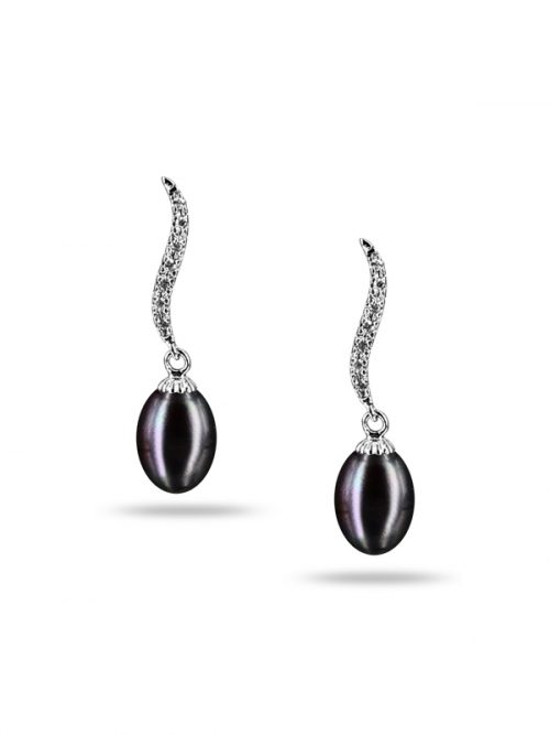 NEW CALEDONIA COLLECTION GRACE BLACK DIAMOND DROP PEARL EARRINGS
