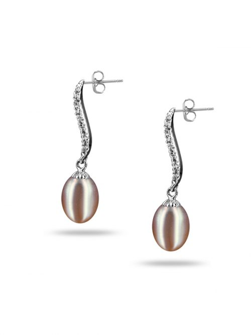 NEW CALEDONIA COLLECTION GRACE DIAMOND DROP PLUM PEARL EARRINGS