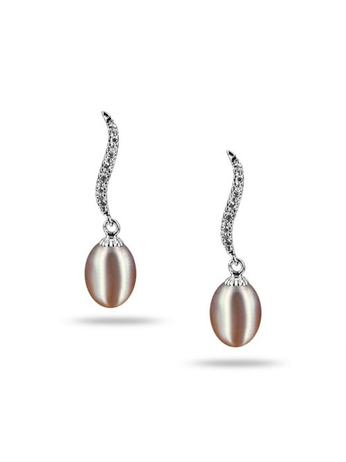 NEW CALEDONIA COLLECTION GRACE PLUM DIAMOND DROP PEARL EARRINGS