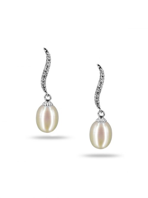NEW CALEDONIA COLLECTION GRACE WHITE DIAMOND DROP PEARL EARRINGS