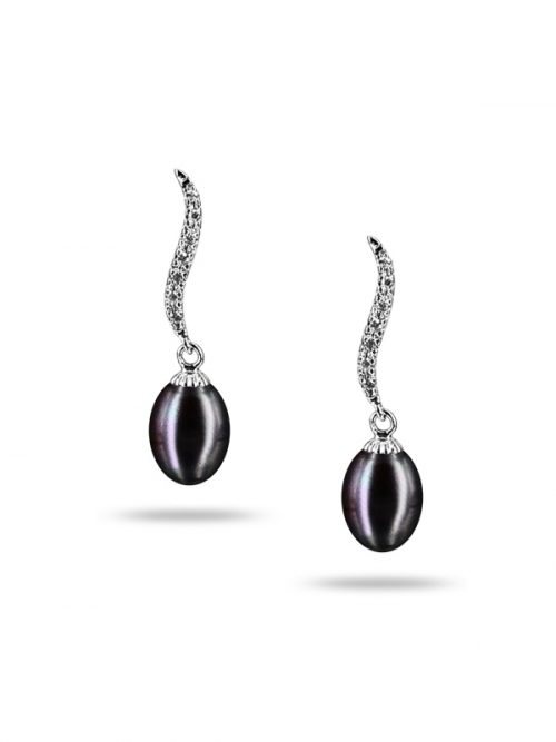 PACIFIC PEARLS NEW CALEDONIA COLLECTION Grace Diamond Encrusted Black Pearl Earrings