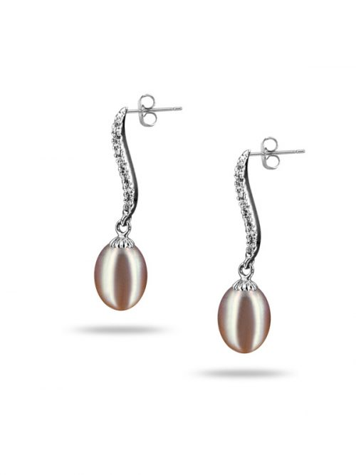 PACIFIC PEARLS NEW CALEDONIA COLLECTION Grace Diamond Encrusted Plum Pearl Earrings