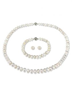 PACIFIC PEARLS PALLISER LAGOON COLLECTION Ivory 7-8mm Versatile Pearl Necklace, Bracelet, and Earring Set