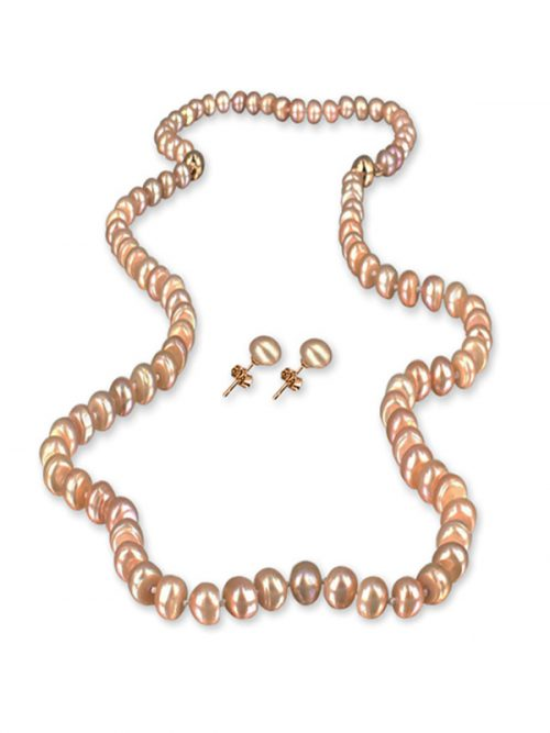 PACIFIC PEARLS PALLISER LAGOON COLLECTION Rose 7-8mm Versatile Pearl Necklace, Bracelet, and Earring Set