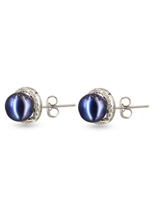 ROSE ATOLL COLLECTION EVERMORE BLACK DIAMOND ENCRUSTED PEARL EARRINGS