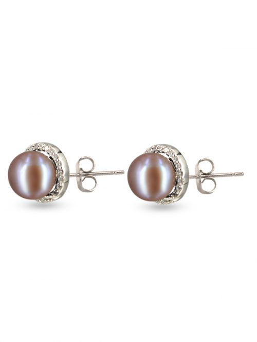 PACIFIC PEARLS ROSE ATOLL COLLECTION Evermore Diamond Encrusted Plum Pearl Earrings