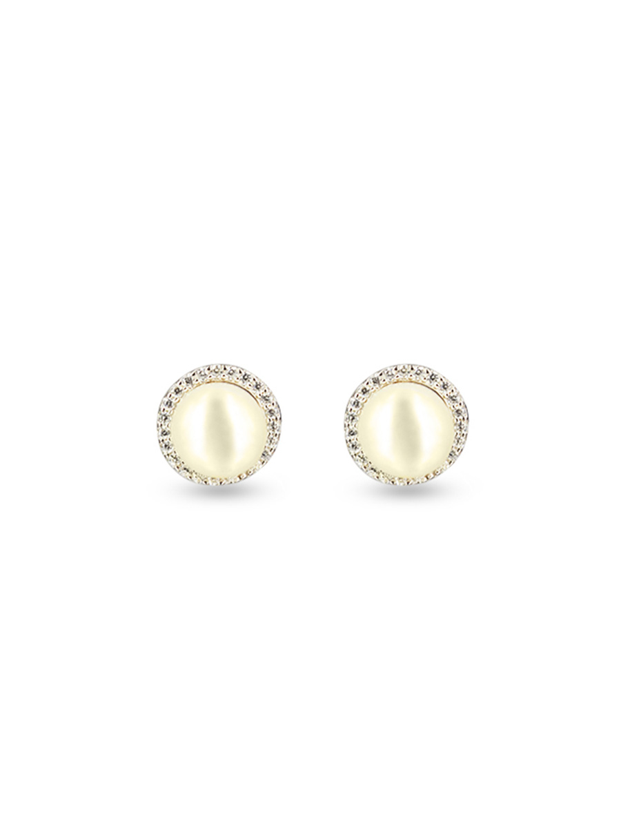 PACIFIC PEARLS ROSE ATOLL COLLECTION Evermore Diamond Encrusted White Pearl Earrings