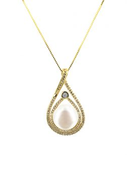 PACIFIC PEARLS ROYAL FALLS COLLECTION Diamond Encrusted Bliss Pearl Pendant