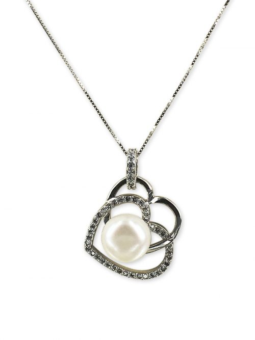 PACIFIC PEARLS ROYAL FALLS COLLECTION Diamond Encrusted Eternal Pearl Pendanta
