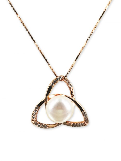 PACIFIC PEARLS ROYAL FALLS COLLECTION Diamond Encrusted Lotus Pearl Pendant
