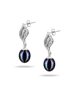 PACIFIC PEARLS SULU SEA COLLECTION Candlelight Diamond Encrusted Black Pearl Earrings