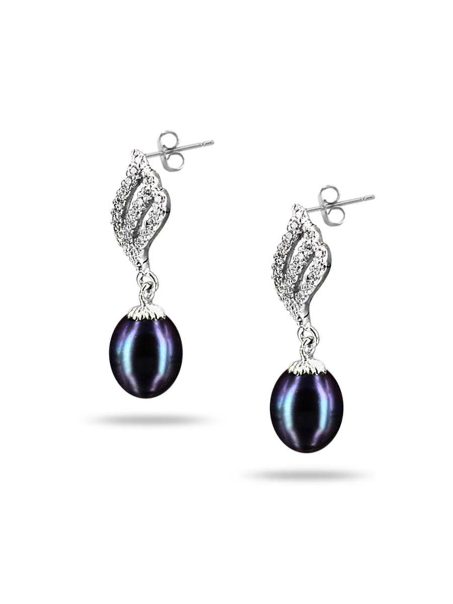 Sulu Sea Collection Candlelight Diamond Encrusted Black Pearl Earrings