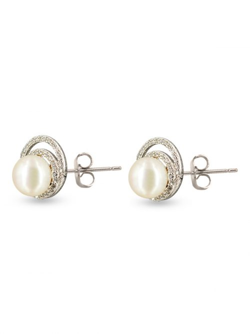 TARA ISLAND COLLECTION CELESTE DIAMOND ENCRUSTED WHITE PEARL STUD EARRINGS