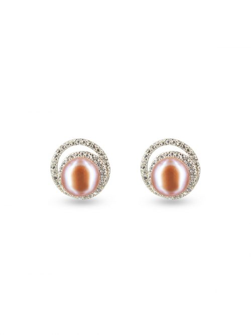 PACIFIC PEARLS TARA ISLAND COLLECTION Celeste Diamond Encrusted Frosted Pink Pearl Earrings