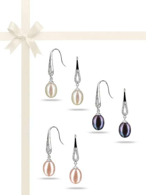 PACIFIC PEARLS TERAINA COVE COLLECTION Diamond Encrusted Pearl Earring Gift Set