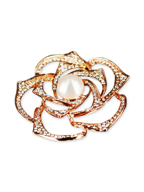 VANUATU COLLECTION Begonia Diamond Encrusted White Pearl Brooch