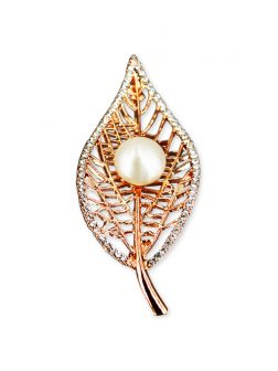 PACIFIC PEARLS VANUATU COLLECTION Bo Leaf Diamond Encrusted Pearl Brooch