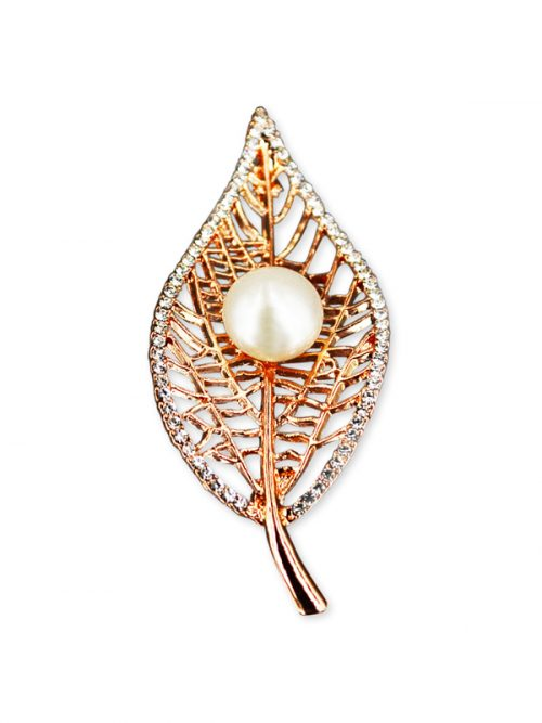 VANUATU COLLECTION Bo Leaf White Pearl Brooch