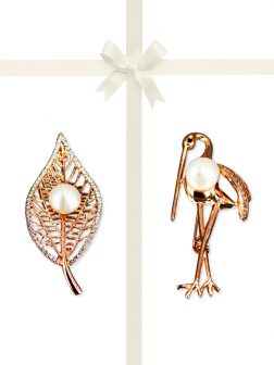 PACIFIC PEARLS VANUATU COLLECTION Bo Leaf and Stork Pearl Brooch Gift Set