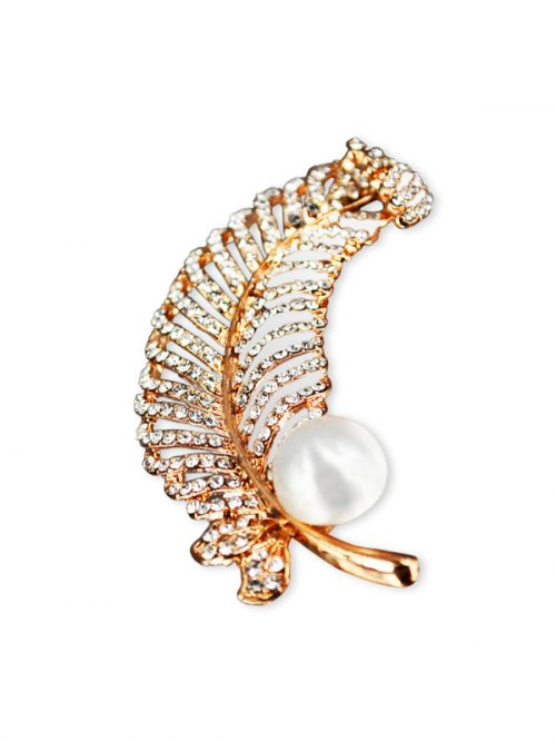 VANUATU COLLECTION Diamond Encrusted Fern White Pearl Brooch