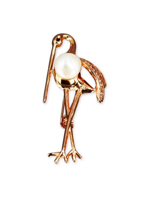 VANUATU COLLECTION Diamond Encrusted Stork 10-11mm Pearl Brooch