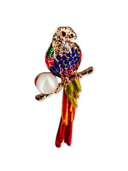 PACIFIC PEARLS VANUATU COLLECTION Macaw Diamond Encrusted Pearl Brooch