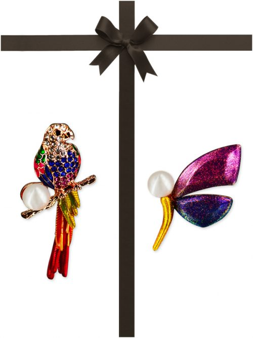 VANUATU COLLECTION Macaw and Madagascar Butterfly Diamond Encrusted Pearl Brooch Gift Set