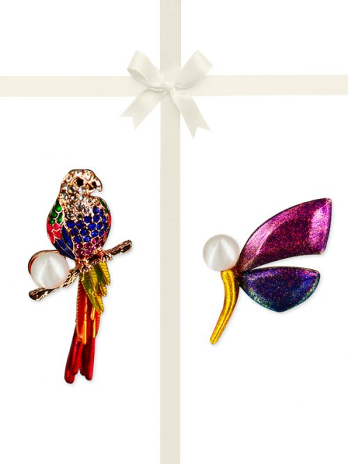 PACIFIC PEARLS VANUATU COLLECTION Macaw and Madagascar Butterfly Pearl Brooch Gift Set