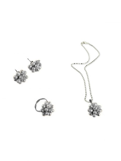 PACIFIC PEARLS ALOHA COLLECTION Rain Clouds Pearl Pendant, Ring, and Earring Set