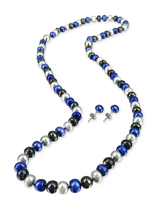 BONDI BLUE PALLISER LAGOON COLLECTION 7-8MM PEARL NECKLACE, BRACELET, AND EARRING SET