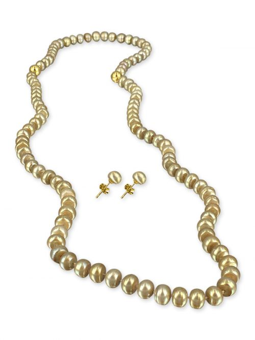 FIELDS OF GOLD PALLISER LAGOON COLLECTION 7-8MM PEARL NECKLACE, BRACELET, AND EARRING SET