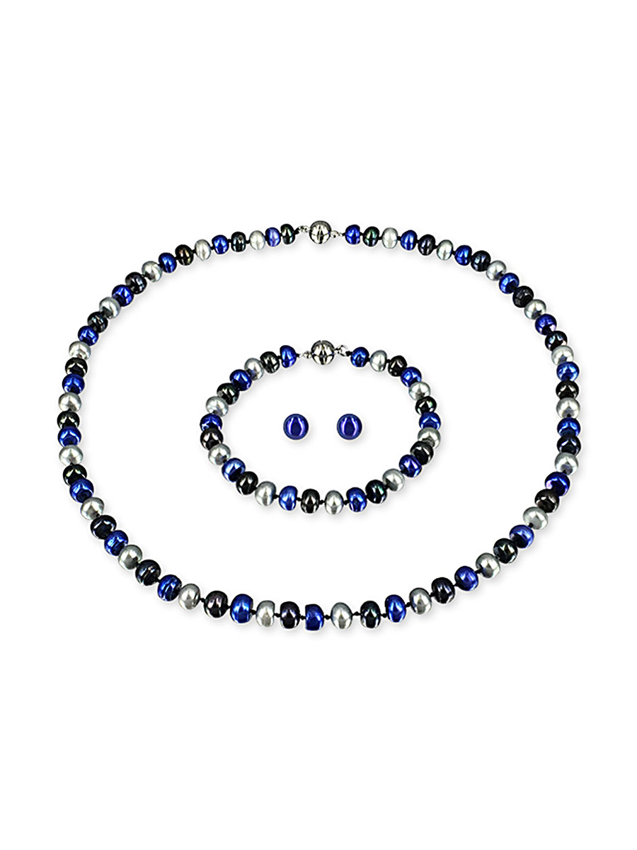 PACIFIC PEARLS PALLISER LAGOON COLLECTION Bondi Blue 7-8mm Versatile Pearl Necklace, Bracelet, and Earring Set