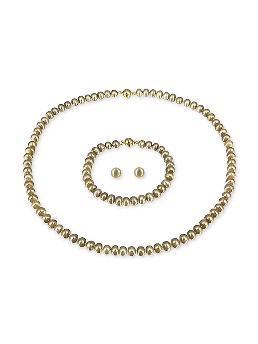 PACIFIC PEARLS PALLISER LAGOON COLLECTION Fields of Gold 7-8mm Versatile Pearl Necklace, Bracelet, and Earring Set