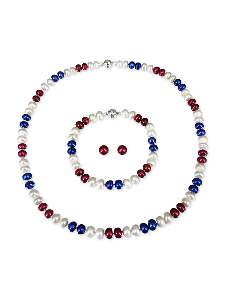 PACIFIC PEARLS PATRIOT COLLECTION USA Pearl Necklace, Bracelet, and Earring Set