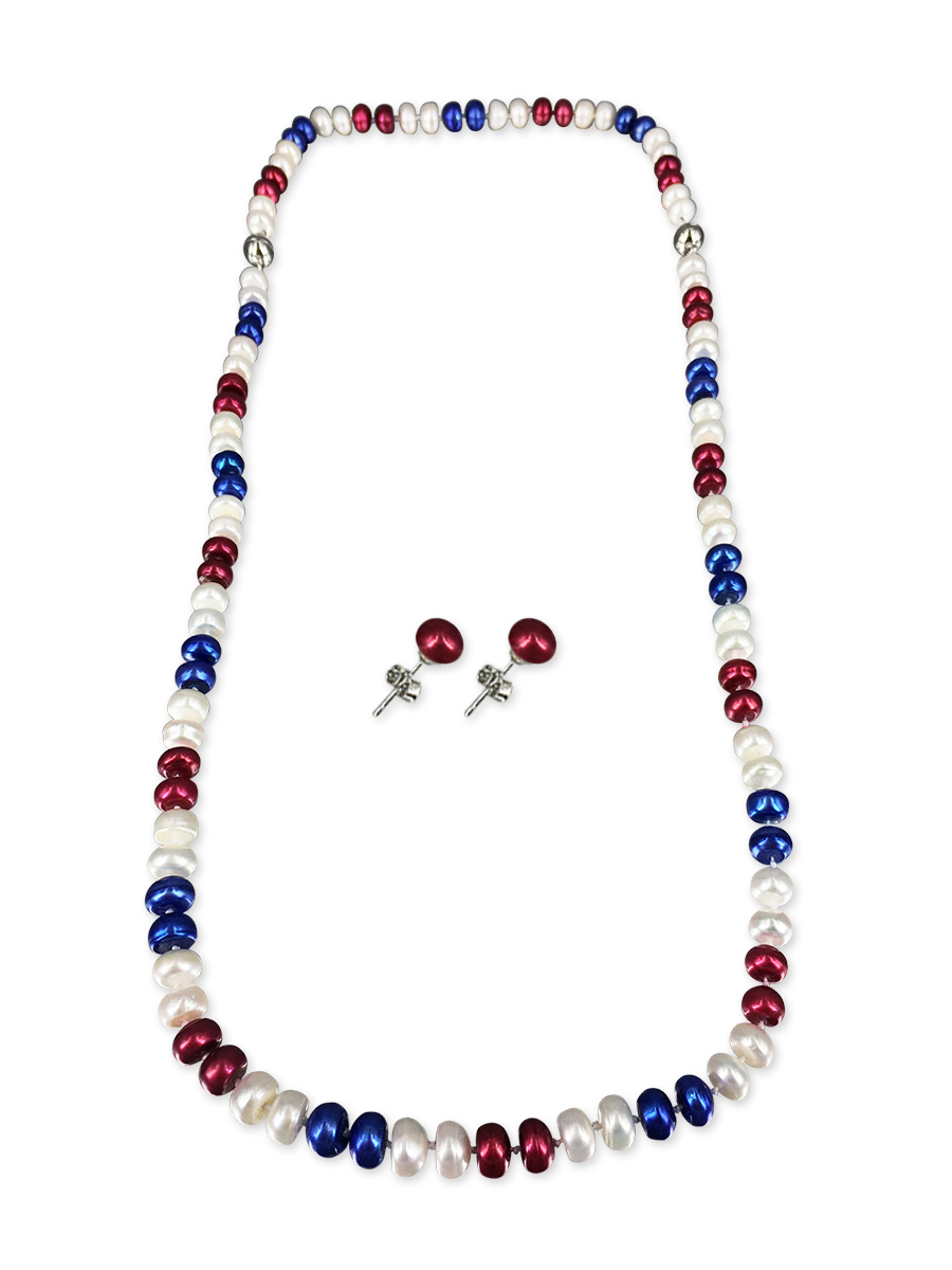 Patriot Collection Usa Pearl Necklace Bracelet Amp Earring