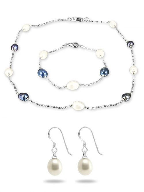 PACIFIC PEARLS TERAINA COVE COLLECTION Black and White 6-7mm Pearl Necklace, Bracelet, and Earring Set