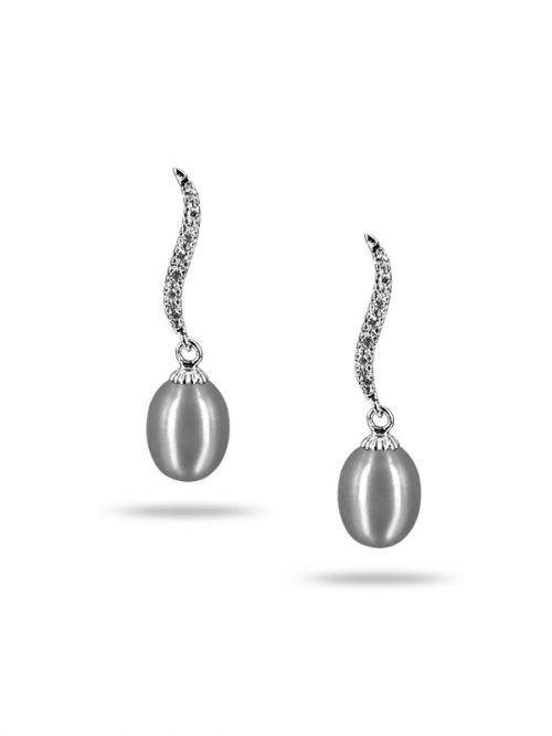PACIFIC PEARLS NEW CALEDONIA COLLECTION Grace Diamond Encrusted Silver-Gray Pearl Earrings